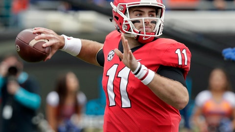 <p>               FILE - In this Oct. 27, 2018, file photo, Georgia quarterback Jake Fromm (11) throws a pass against Florida during the first half of an NCAA college football game, in Jacksonville, Fla. No. 5 Georgia has completed its SEC schedule and now must avoid looking ahead to its SEC championship game against No. 1 Alabama as it finishes its regular season with nonconference games against UMass on Saturday and state rival Georgia Tech the following week. (AP Photo/John Raoux, File)             </p>