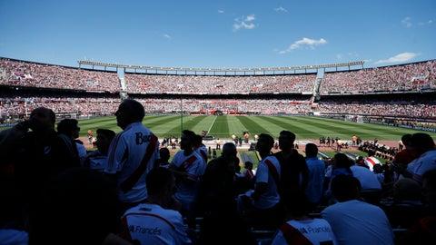 <p>               Fans of Argentina's River Plate wait for the final soccer match of the Copa Libertadores against Argentina's Boca Juniors at the Antonio Vespucio Liberti stadium in Buenos Aires, Argentina, Saturday, Nov. 24, 2018. (AP Photo/Natacha Pisarenko)             </p>