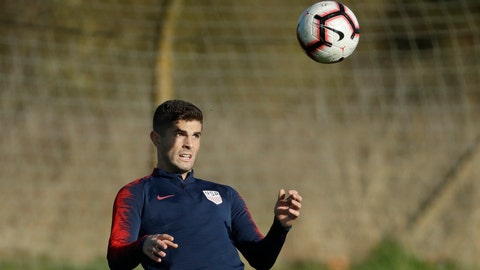<p>               United States national soccer team player Christian Pulisic takes part in their national soccer squad training session at the training facilities of Brentford Football Club in west London, Monday, Nov. 12, 2018. The United States play England in an international friendly soccer match at Wembley stadium in London on Thursday. (AP Photo/Matt Dunham)             </p>