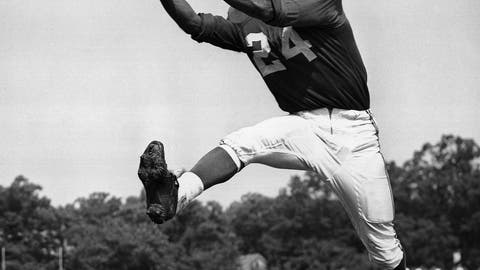 <p>               FILE - In this July 30, 1953, file photo, veteran halfback Wally Triplett of Penn State U., originally from La Mott, Pa., poses in action during his second year with Chicago Cardinals and fourth year in the National Football League. Triplett, who left his indelible mark on NFL history by becoming the first African-American player to be drafted and play for an NFL team, passed away Thursday, Nov. 8, 2018, the Detroit Lions announced. He was 92. (AP Photo/File)             </p>