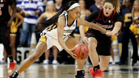 <p>               Chattanooga guard Mya Long (3) protects the ball against Louisville's Mykasa Robinson (5) in the second half of an NCAA college basketball game Friday, Nov. 9, 2018, in Chattanooga, Tenn. Louisville won 75-49. (AP Photo/Mark Humphrey)             </p>