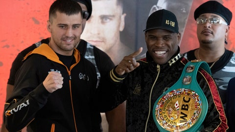 <p>               Oleksandr Gvozdyk, left, and Adonis Stevenson gesture during a press conference Thursday, Nov. 29, 2018, in Quebec City. They will fight for Stevenson's WBC light heavyweight boxing title on Saturday.  (Jacques Boissinot/The Canadian Press via AP)             </p>
