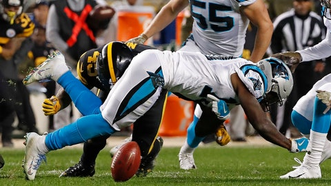 <p>               Carolina Panthers wide receiver Curtis Samuel (10) fumbles the ball after being hit by Pittsburgh Steelers fullback Roosevelt Nix-Jones (45) on a kickoff return during the second half of an NFL football game in Pittsburgh, Thursday, Nov. 8, 2018. The Steelers recovered the fumble. (AP Photo/Don Wright)             </p>