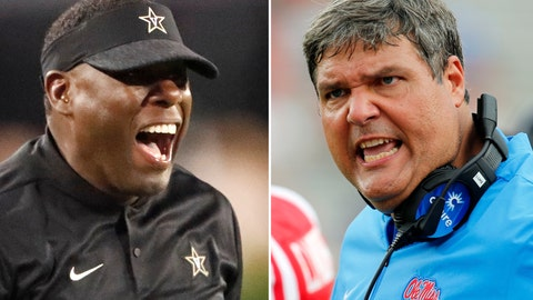 <p>               FILE - At left, in an Oct. 6, 2018, file photo, Vanderbilt head coach Derek Mason yells at an official during the first half of an NCAA college football game against Georgia, in Atlanta, Ga. At right, in a Sept. 22, 2018, file photo, Mississippi head coach Matt Luke encourages his players during the second half of the NCAA college football game against Kent State, in Oxford, Miss. Vanderbilt hosts Mississippi on Saturday, Nov. 17. (AP Photo/File)             </p>