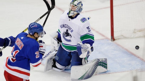 <p>               Vancouver Canucks goaltender Jacob Markstrom (25) reacts after New York Rangers' Brett Howden (21) scored a goal during the third period of an NHL hockey game Monday, Nov. 12, 2018, in New York. The Rangers won 2-1. (AP Photo/Frank Franklin II)             </p>