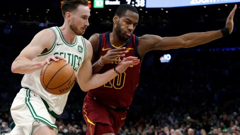 <p>               Boston Celtics forward Gordon Hayward (20) drives against Cleveland Cavaliers guard Alec Burks during the first half of an NBA basketball game Friday, Nov. 30, 2018, in Boston. (AP Photo/Elise Amendola)             </p>