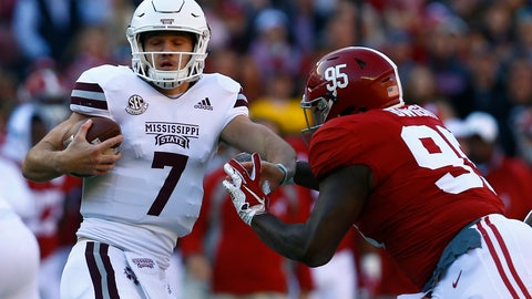 <p>               Mississippi State quarterback Nick Fitzgerald (7) is pressured by Alabama defensive lineman Johnny Dwight (95) during the first half of an NCAA college football game, Saturday, Nov. 10, 2018, in Tuscaloosa, Ala. (AP Photo/Butch Dill)             </p>
