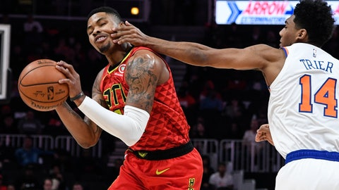 <p>               Atlanta Hawks guard Kent Bazemore gets fouled on the face by New York Knicks guard Allonzo Trier (14) during the first half of an NBA basketball game Wednesday, Nov. 7, 2018, in Atlanta. (AP Photo/John Amis)             </p>