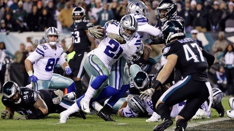 """<p>               FILE - In this Monday, Nov. 12, 2018, file photo, Dallas Cowboys' Ezekiel Elliott carries the ball during an NFL football game against the Philadelphia Eagles in Philadelphia. Not only was Elliott having a self-described """"tough time"""" with the NFL's ban over domestic violence allegations finally in place, but he had to watch a dreadful offensive showing by the Cowboys in a blowout loss to Atlanta, the start of a three-game losing streak that wiped out any realistic playoff hopes. (AP Photo/Matt Slocum, File)             </p>"""