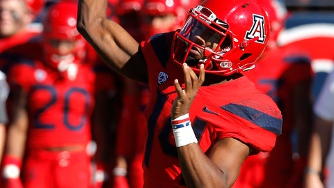 <p>               Arizona quarterback Khalil Tate throws downfield against Arizona State in the first half during an NCAA college football game, Saturday, Nov. 24, 2018, in Tucson, Ariz. (AP Photo/Rick Scuteri)             </p>