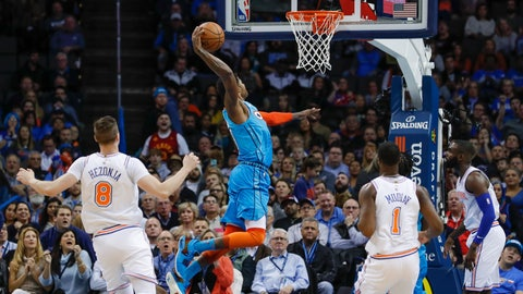 <p>               Oklahoma City Thunder forward Paul George (13) goes up to dunk against the New York Knicks during the first half of an NBA basketball game in Oklahoma City, Wednesday, Nov. 14, 2018. (AP Photo/Alonzo Adams)             </p>
