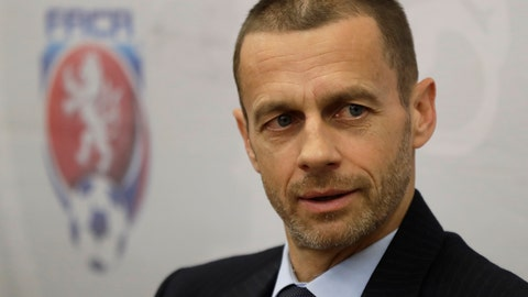 <p>               In this Tuesday, March 21, 2017 file photo, UEFA president Aleksander Ceferin addresses the media at a news conference in Prague, Czech Republic. Aleksander Ceferin is set to be re-elected as head of European soccer after no challenger entered the contest for the UEFA presidency. The deadline for candidates ahead of the election in February passed on Wednesday Nov. 7, 2018. (AP Photo/Petr David Josek, File)             </p>