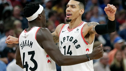 <p>               Toronto Raptors' Danny Green (14) celebrates his game winning shot against the Orlando Magic with teammate Pascal Siakam (43) in the final seconds of an NBA basketball game, Tuesday, Nov. 20, 2018, in Orlando, Fla. (AP Photo/John Raoux)             </p>