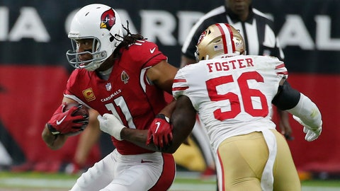 <p>               FILE - In this Oct. 28, 2018, file photo, Arizona Cardinals wide receiver Larry Fitzgerald (11) runs with the ball during the team's NFL football game against the San Francisco 49ers in Glendale, Ariz. Fitzgerald is closing in on another milestone, and it's an impressive one. The 35-year-old receiver needs to catch just 33 yards of passes Sunday at Kansas City to move past Hall of Famer Terrell Owens into second place in the NFL's all-time yards receiving list. (AP Photo/Rick Scuteri, File)             </p>