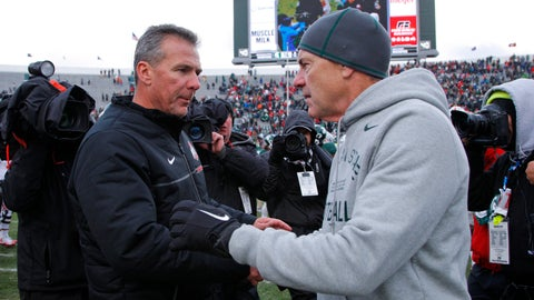 <p>               FILE - In this Nov. 19, 2016, file photo, Ohio State coach Urban Meyer, left, and Michigan State coach Mark Dantonio shake hands after the Spartans won 17-16 in NCAA college football game in East Lansing, Mich. Ohio State visits Michigan State needing a win to stay on track for a Big Ten East showdown with Michigan in two weeks. (AP Photo/Al Goldis, File)             </p>