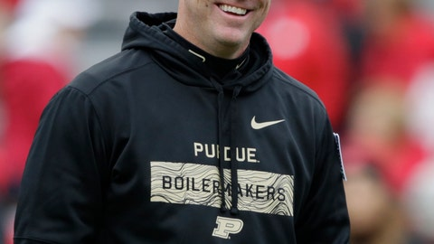 <p>               FILE - In this Sept. 29, 2018, file photo, Purdue head coach Jeff Brohm smiles on the field before an NCAA college football game against Nebraska, in Lincoln, Neb. Indiana coach Tom Allen and  Brohm understand the short-term stakes of Saturday's Old Oaken Bucket game. The winner plays another game this season while the loser heads home to start offseason work, just like last year. Just like it seems every year.  (AP Photo/Nati Harnik, FIle)             </p>