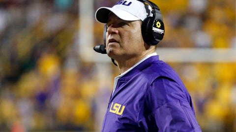 <p>               FILE - This Sept. 17, 2016 file photo shows LSU head coach Les Miles watching from the sideline in the second half of an NCAA college football game against Mississippi State in Baton Rouge, La. Miles is in negotiations with Kansas to take over the down-trodden Jayhawks, a person with knowledge of the discussions told The Associated Press. Sports Illustrated was the first to report that Miles and Kansas athletic director Jeff Long were discussing a contract. It remains unclear when a deal will be complete. (AP Photo/Gerald Herbert, File)             </p>