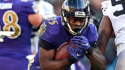 <p>               FILE - In this Sunday, Nov. 25, 2018, file photo, Baltimore Ravens running back Gus Edwards, center, carries the ball in the second half of an NFL football game against the Oakland Raiders in Baltimore. Regardless of who starts at quarterback, the rookie running back should see plenty of action for the Ravens on Sunday against Atlanta. (AP Photo/Gail Burton, File)             </p>