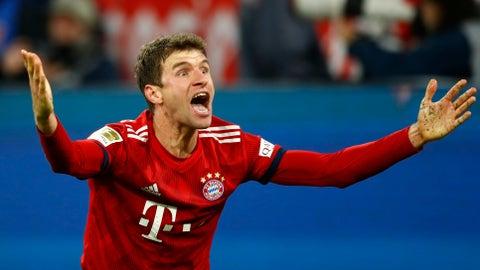 <p>               Bayern's Thomas Mueller shouts during the German Bundesliga soccer match between FC Bayern Munich and Fortuna Duesseldorf in Munich, Germany, Saturday, Nov. 24, 2018. (AP Photo/Matthias Schrader)             </p>