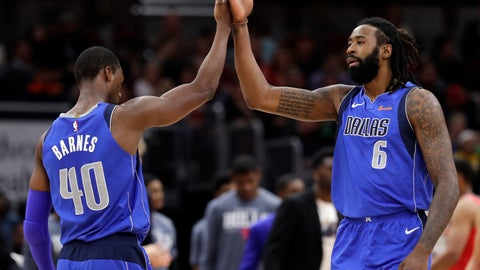 <p>               Dallas Mavericks center DeAndre Jordan, right, celebrates with forward Harrison Barnes after scoring a basket against the Chicago Bulls during the second half of an NBA basketball game Monday, Nov. 12, 2018, in Chicago. The Mavericks won 103-98. (AP Photo/Nam Y. Huh)             </p>