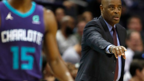 <p>               Cleveland Cavaliers acting head coach Larry Drew tries to coach his team against Charlotte Hornets' against Kemba Walker (15)  from the sideline during the second half of an NBA basketball game in Charlotte, N.C., Saturday, Nov. 3, 2018. (AP Photo/Bob Leverone)             </p>