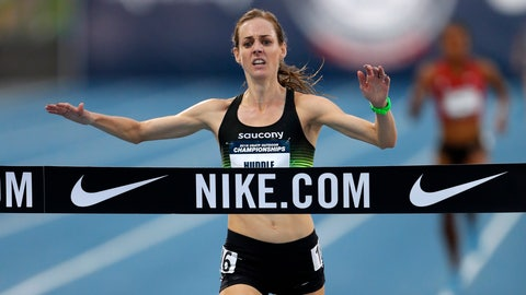 <p>               FILE- In this June 21, 2018, file photo, Molly Huddle crosses the finish line as she win the women's 10,000-meter run at the U.S. Championships athletics meet in Des Moines, Iowa. Shalane Flanagan last year became the first American woman in 40 years to win the NYC Marathon. Desiree Linden followed with a victory in Boston. All of which motivates Huddle for Sunday's race in New York, who was third there in 2016 in her marathon debut. (AP Photo/Charlie Neibergall, File)             </p>