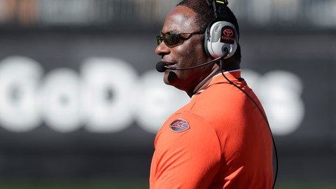 <p>               Syracuse head coach Dino Babers watches the action in the first half of an NCAA college football game against Wake Forest in Charlotte, N.C., Saturday, Nov. 3, 2018. (AP Photo/Chuck Burton)             </p>