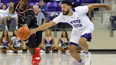 <p>               Fresno State guard Braxton Huggins (4) and TCU guard Alex Robinson (25) chase a loose ball during the first half of an NCAA college basketball game Thursday, Nov. 15, 2018, in Fort Worth, Texas. (AP Photo/Richard W. Rodriguez)             </p>