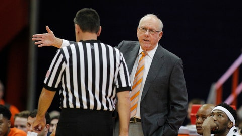 <p>               Syracuse coach Jim Boeheim, right, talks with official Pat Driscoll during the second half of the team's college basketball exhibition game against Le Moyne in Syracuse, N.Y., Wednesday, Oct. 31, 2018. (AP Photo/Nick Lisi)             </p>