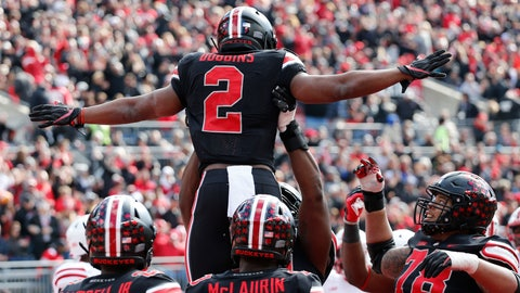 <p>               Ohio State running back J.K. Dobbins celebrates with teammates after scoring a touchdown against Nebraska during the first half of an NCAA college football game Saturday, Nov. 3, 2018, in Columbus, Ohio. (AP Photo/Jay LaPrete)             </p>