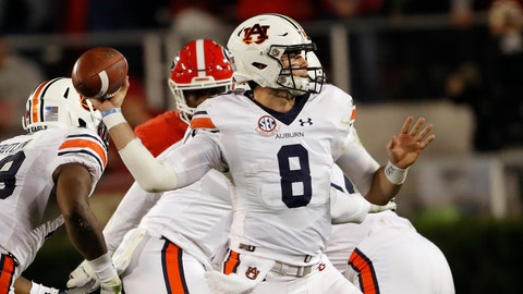 <p>               Auburn quarterback Jarrett Stidham (8) looks to throw a pass during the first half of an NCAA college football game against Georgia Saturday, Nov. 10, 2018, in Athens, Ga. (AP Photo/John Bazemore)             </p>