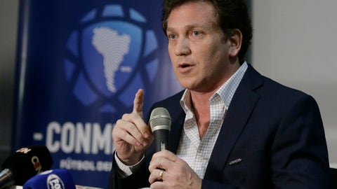 <p>               CONMEBOL  President Alejandro Dominguez talks during a conference at CONMEBOL headquarters in Luque, Paraguay, Thursday, Nov. 29, 2018. Dominguez announced the final match of Copa Libertadores soccer championship between Argentina's  Boca Juniors and River Plate will be played in Madrid on Dec. 9, 2018. (AP Photo/Jorge Saenz)             </p>