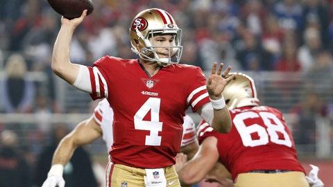 <p>               San Francisco 49ers quarterback Nick Mullens (4) passes against the New York Giants during the second half of an NFL football game in Santa Clara, Calif., Monday, Nov. 12, 2018. (AP Photo/Tony Avelar)             </p>
