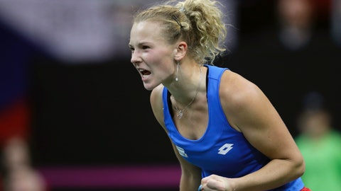 <p>               Katerina Siniakova of the Czech Republic reacts after scoring a point against Sofia Kenin of the United States during their tennis match of the Fed Cup Final between Czech Republic and United States in Prague, Czech Republic, Sunday, Nov. 11, 2018. (AP Photo/Petr David Josek)             </p>