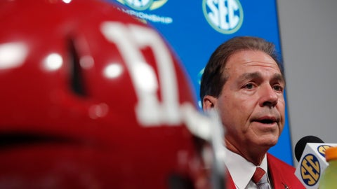 <p>               Alabama head coach Nick Saban speaks during a news conference, Friday, Nov. 30, 2018, in Atlanta. Georgia and Alabama will play Saturday in the Southeastern Conference championship NCAA college football game. (AP Photo/John Bazemore)             </p>
