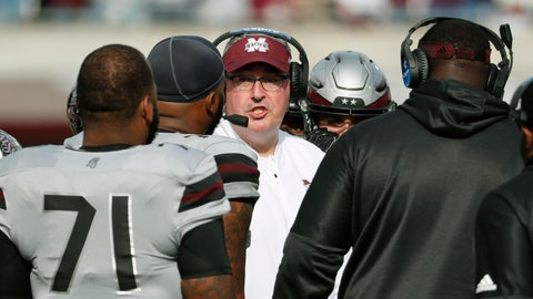 <p>               Mississippi State head coach Joe Moorhead speaks to his players during a time out in the second half of an NCAA college football game against Arkansas in Starkville, Miss., Saturday, Nov. 17, 2018. Mississippi State won 52-6. (AP Photo/Rogelio V. Solis)             </p>