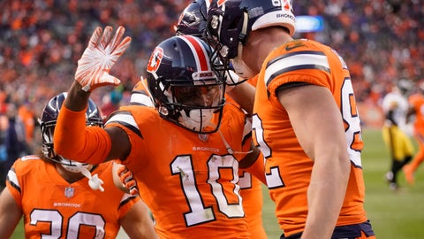 <p>               Denver Broncos wide receiver Emmanuel Sanders (10) celebrates his touchdown with tight end Jeff Heuerman (82) during the first half of an NFL football game against the Pittsburgh Steelers, Sunday, Nov. 25, 2018, in Denver. (AP Photo/Jack Dempsey)             </p>