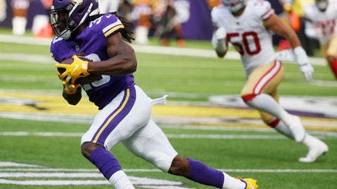<p>               FILE - in this Sept. 9, 2018, file photo, Minnesota Vikings running back Dalvin Cook (33) runs with the ball during the first half of the team's NFL football game against the San Francisco 49ers in Minneapolis. Cook's hamstring wasn't healing fast enough so the Vikings gave him a full week to rest last week and held him out for the fifth time in six games. He's back at practice this week, eager to make up for lost time but cognizant of the delicate nature of the injury. (AP Photo/Bruce Kluckhohn, File)             </p>