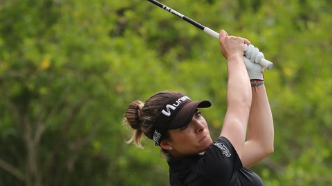 <p>               FILE - In this May 26, 2018, file photo, Gaby Lopez, of Mexico, tees off on the third hole during the third round of the LPGA Volvik Championship golf tournament at the Travis Pointe Country Club, in Ann Arbor, Mich. Lopez won her first LPGA Tour event with a 1-over 73 to finish one shot ahead of Ariya Jutanugarn in the Blue Bay tournament in China, Saturday, Nov. 10, 2018. (AP Photo/Carlos Osorio, File)             </p>