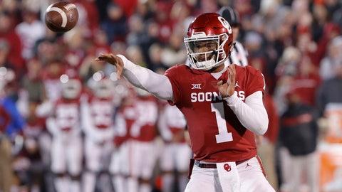 <p>               Oklahoma quarterback Kyler Murray (1) passes the ball against Kansas during the first half of an NCAA college football game in Norman, Okla., Saturday, Nov. 17, 2018. (AP Photo/Alonzo Adams)             </p>