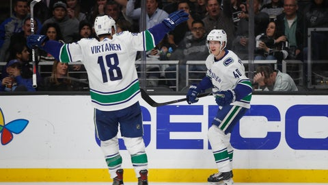 <p>               Vancouver Canucks' Elias Pettersson, right, of Sweden, celebrates his goal with Jake Virtanen during the third period of an NHL hockey game against the Los Angeles Kings, Saturday, Nov. 24, 2018, in Los Angeles. (AP Photo/Jae C. Hong)             </p>