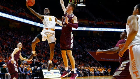 <p>               Tennessee guard Jordan Bone (0) shoots over Eastern Kentucky forward Lachlan Anderson (21) during the first half of an NCAA college basketball game Wednesday, Nov. 28, 2018, in Knoxville, Tenn. (AP photo/Wade Payne)             </p>