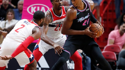 <p>               Miami Heat center Hassan Whiteside, right, looks for an opening past Washington Wizards guard John Wall (2) and center Dwight Howard during the first half of an NBA basketball game Saturday, Nov. 10, 2018, in Miami. (AP Photo/Wilfredo Lee)             </p>