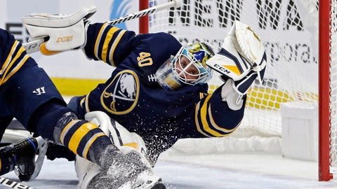 <p>               Buffalo Sabres goalie Carter Hutton (40) sprawls to make a glove save during the second period of an NHL hockey game against the Vancouver Canucks, Saturday, Nov. 10, 2018, in Buffalo N.Y. (AP Photo/Jeffrey T. Barnes)             </p>