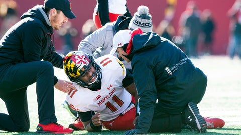 <p>               FILE - In this Nov. 10, 2018, file photo, Maryland quarterback Kasim Hill (11) grimaces as he is examined by team trainers after an apparent injury during the first half of an NCAA college football game against Indiana, in Bloomington, Ind. With No. 9 Ohio State next on the schedule, Maryland has yet another obstacle to overcome. Interim coach Matt Canada announced Tuesday, Nov. 13, 2018, that starting quarterback Kasim Hill tore the ACL in his left knee against Indiana last week, making this the second straight season he's had cut short with a knee injury. Tyrrell Pigrome will start against the Buckeyes (9-1, 6-1 Big Ten) as Maryland (5-5, 3-4) tries for a third straight week to get a win that will make them bowl eligible. (AP Photo/Doug McSchooler, File)             </p>