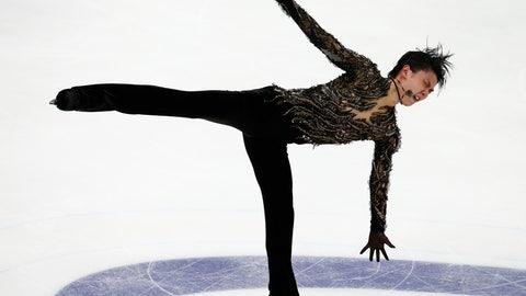 <p>               Yuzuru Hanyu of Japan performs in the men's free skating during the ISU Grand Prix of Figure Skating Rostelecom Cup in Moscow, Russia, Saturday, Nov. 17, 2018. (AP Photo/Alexander Zemlianichenko)             </p>