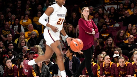 <p>               FILE - In this Friday, Nov. 9, 2018, file photo, Minnesota head coach Lindsay Whalen watches as guard Jasmine Brunson (21) brings the ball up against New Hampshire during the first half of an NCAA college basketball game in Minneapolis. Whalen got her first win as a coach as Minnesota won 70-47. (Aaron Lavinksy/Star Tribune via AP, File)             </p>