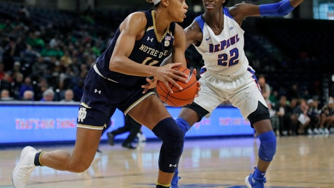 <p>               Notre Dame's Brianna Turner, left, is guarded by DePaul's Chante Stonewall during the second half of an NCAA college basketball game Saturday, Nov. 17, 2018, in Chicago. (AP Photo/Jim Young)             </p>