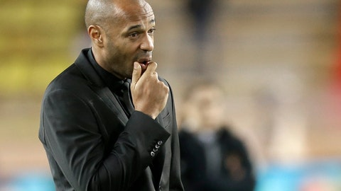 <p>               Monaco coach Thierry Henry watches the players as they train before the Champions League Group A soccer match between Monaco and Club Brugge at the Louis II stadium in Monaco, Tuesday, Nov. 6, 2018. (AP Photo/Claude Paris)             </p>