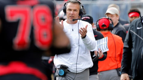 <p>               FILE - In this Saturday, Nov. 3, 2018, file photo, Ohio State head coach Urban Meyer watches his team play against Nebraska during an NCAA college football game, in Columbus, Ohio. Meyer hates having to defend the performance of his ninth-ranked Buckeyes, who still have a shot at winning the Big Ten and the national championship heading into their game at Maryland.  (AP Photo/Jay LaPrete, File)             </p>